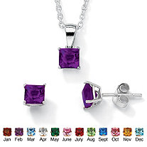 "Princess-Cut Simulated Birthstone Sterling Silver Pendant, 18"" Chain and Stud Earrings Set"