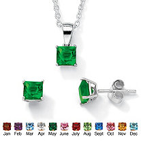Princess-Cut Simulated Birthstone Sterling Silver Pendant, 18