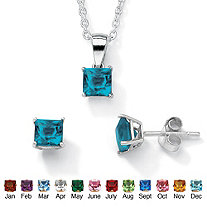"Simulated Birthstone Sterling Silver Pendant, 18"" Chain and Earrings Set"