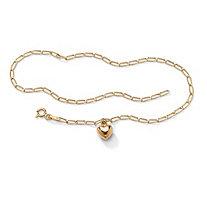 10k Yellow Gold Oblong-Link Heart Charm Bracelet 7 1/2