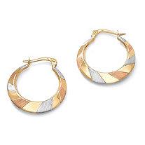 10k Tritone Gold Hoop Earrings