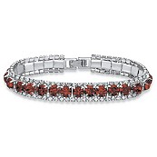 Round Simulated Birthstone Crystal Accent Silvertone Metal Tennis Bracelet 7""