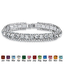 Round Simulated Birthstone Crystal Accent Silvertone Tennis Bracelet 7