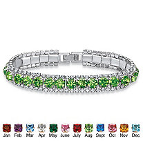 Round Simulated Birthstone Crystal Accent Silvertone Tennis Bracelet 7""