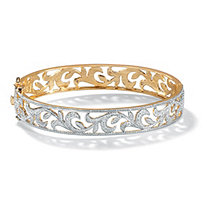 Diamond Accent 18k Yellow Gold-Plated Vine Bangle Bracelet 7 1/2""