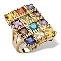 8.40 TCW Princess-Cut Multi-Color Cubic Zirconia 14k Yellow Gold-Plated Ring