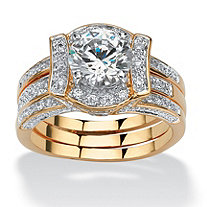 2.37 TCW Round Cubic Zirconia 14k Yellow Gold-Plated Bridal Engagement Ring Wedding Band Set