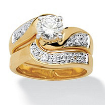 Round Cubic Zirconia 14k Gold-Plated Swirled Bridal Engagement Ring Wedding Band Set