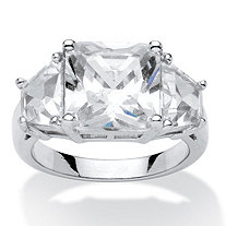 6.31 TCW Princess-Cut Cubic Zirconia Platinum Over Sterling Silver 3-Stone Bridal Engagement Ring