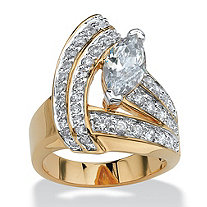 3.08 TCW Marquise-Cut Cubic Zirconia 14k Yellow Gold-Plated Wrap Ring