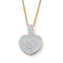 2.50 TCW Pave-Set Cubic Zirconia 14k Gold-Plated Heart-Shaped Pendant and Chain 18""