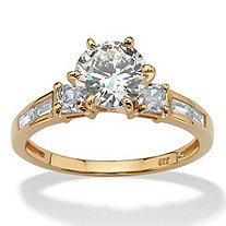 2.14 TCW Round Cubic Zirconia 18k Yellow Gold Over Sterling Silver Engagement Anniversary Ring