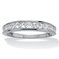 .81 TCW Princess-Cut Cubic Zirconia Platinum Over Sterling Silver Anniversary Wedding Band