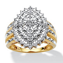 1/3 TCW Round Diamond 18k Yellow Gold over Sterling Silver Marquise-Shaped Cluster Ring