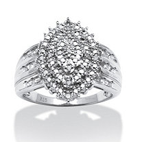 1/3 TCW Round Diamond Platinum over Sterling Silver Marquise-Shaped Cluster Ring
