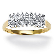 1/7 TCW Round Diamond 18k Yellow Gold over Sterling Silver Engagement Anniversary Peak Ring
