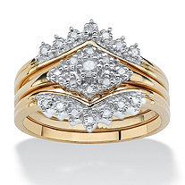 .22 TCW Diamond 18k Yellow Gold over Sterling Silver 3-Piece Bridal Engagement Wedding Ring Set