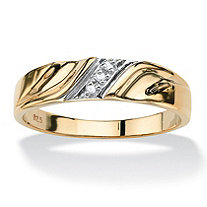 Men's Diamond Accent 18k Gold over Sterling Silver Diagonal Wedding Band Ring