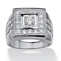 Men's 2.18 TCW Round Cubic Zirconia Platinum Plated Square-Shaped Ring