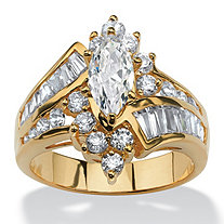3.20 TCW Marquise-Cut Cubic Zirconia 14k Yellow Gold-Plated Ring