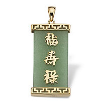 "Green Jade ""Good Luck, Prosperity & Long Life"" Pendant in Golden Finish over Sterling Silver"