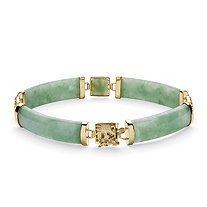 Green Jade Dragon Link Bracelet in Golden Finish over Sterling Silver 7 1/4""