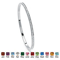 Round Simulated Birthstone Black Rhodium-Plated Stackable Eternity Bangle Bracelet 7 1/2""