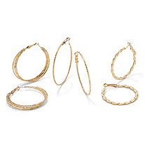 14k Gold-Plated Three-Pair Hoop Pierced Earring Set