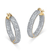 6.0 TCW Round Cubic Zirconia 14k Gold-Plated Inside-Out Hoop Earrings