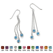 Round Bezel-Set Simulated Birthstone Chain Drop Earrings in Sterling Silver