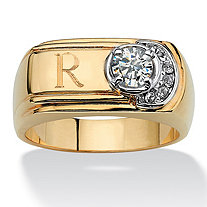 Men's .50-Carat Round Cubic Zirconia 14k Yellow Gold-Plated Personalized I.D. Ring