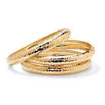 3 Piece Hammered Style Bangle Bracelets Set in Yellow Gold Tone 8 1/2""