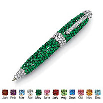 Round Simulated Birthstone and Clear Rhinestone Silvertone Pen