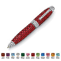 Round Simulated Birthstone and Crystal Silvertone Pen