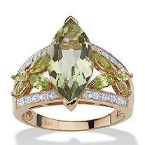 4.83 TCW Marquise-Cut Genuine Green Amethyst and Peridot 18k Yellow Gold over Sterling Silver Ring