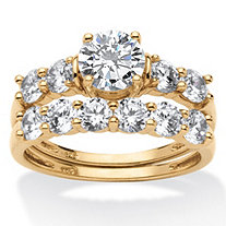 2.50 TCW Cubic Zirconia 18k Gold over Sterling Silver Wedding Band Set