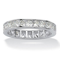 5.29 TCW Princess-Cut Cubic Zirconia Platinum over Sterling Silver Channel-Set Eternity Band
