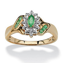 3/8 TCW Marquise-Cut and Round Genuine Emerald Diamond Accent 18k Gold over Sterling Silver Ring