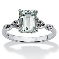 Emerald Cut Genuine Aquamarine Platinum over Sterling Silver Ring
