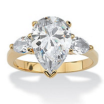 4.89 TCW Pear Cut Cubic Zirconia 18k Gold-Plated 3-Stone Bridal Engagement Ring