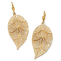 Filigree Leaf Drop Pierced Earrings in 14k Gold-Plated