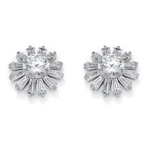 Round Crystal Silvertone Stud Starburst Earrings