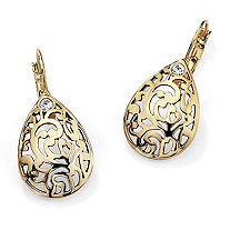 Round Crystal Accent 14k Yellow Gold-Plated Filigree Pear-Shaped Drop Earrings
