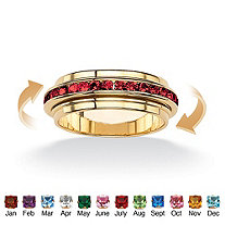 Round Simulated Birthstone 14k Gold-Plated Eternity Spinner Band