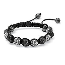 "Round Black and White Crystal Glass Ball Macrame Rope Tranquility Bracelet Adjustable 8"" to 10"""