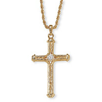 Crystal Decorative Cross Pendant Necklace in Yellow Gold Tone