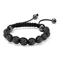 "Round Black Crystal Glass Ball Black Macrame Rope Tranquility Bracelet Adjustable 8"" to 10"""