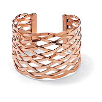 Lattice Cuff Bracelet Rose Gold Plated 7 1/2""