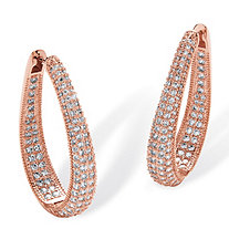 8.10 TCW Round Cubic Zirconia Inside-Out Hoop Earrings Rose Gold-Plated
