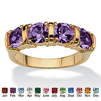 Round Simulated Birthstone 18k Gold-Plated Channel Ring